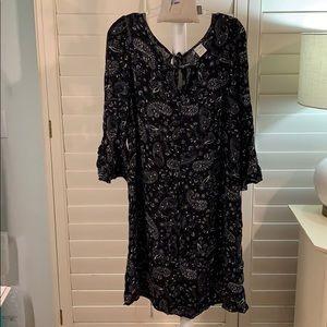 Sweet, paisley BOHO dress blk/wht XXL #A280